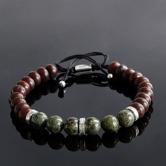 Men's Bead Bracelet Natural Red and Green Jasper 8 mm Round Stone with 925 Silver