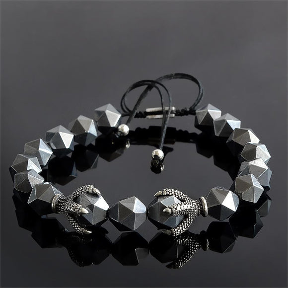 Men's Bracelet 8mm Titanium Hematite Nugget Beads with 925 Silver Dragon Claw Beads