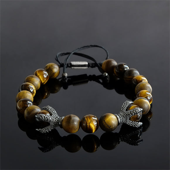 Tiger's Eye Stone Men's Bracelet with 925 Sterling Silver Dragon Claw