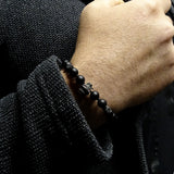 Men's Matte Black Onyx Bracelet with 925 Silver Smoking Skull Charm