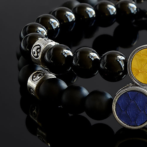 Set of 2 Bracelets for Him and Her Black Onyx with 925 Sterling Silver Yin-Yang