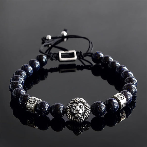 Men's 8mm Natural Blue Sandstone with Silver Lion Bead Bracelet