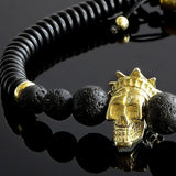 Matte Black Lava Stone Men's Bracelet with Gold Plated Silver King Crown Skull Head Bead