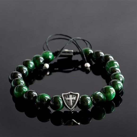 Men's Green Tiger's Eye Bracelet with 925 Sterling Silver Templar Cross on Shield