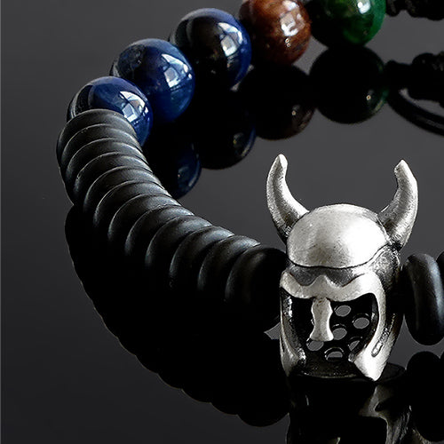 Handmade Bracelet for Man with Tiger's Eye Beads and 925 Silver Viking Helmet