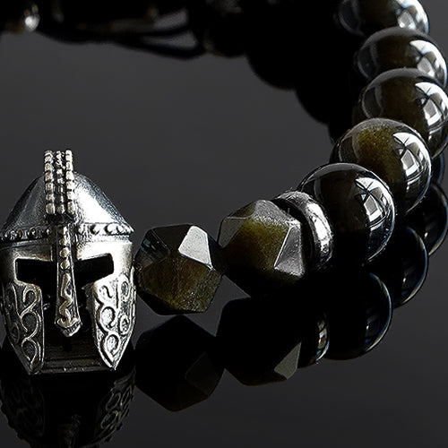 Men's Spartan Helmet Bracelet Natural Golden Sheen Obsidian Gemstone with 925 Silver