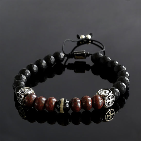Men's Gemstone Bracelet Matte Black Onyx and Red Jasper with 925 Sterling Silver Templar Cross