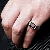 Men's Ring with Red Ruby in 925 Sterling Silver