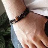 Black Lava Rock 6mm Beaded Mens Bracelet Set of 2 Silver Skull Minimal Stackable Bracelets