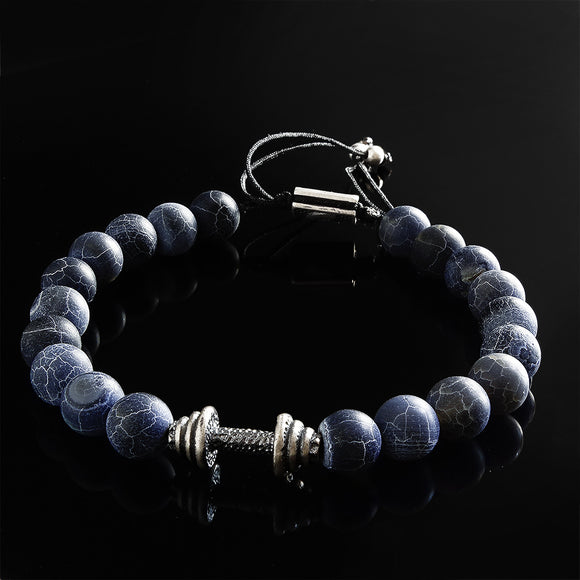 Matte Blue Agate with Genuine Silver Dumbbell Men's Bracelet Braided with Adjustable Cord