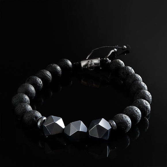 Black Round Lava Stone Men's Bracelet with Titanium Hematite Beads 925 Silver Lock