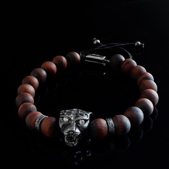 Tiger's Eye Men's Bracelet Red Round Natural Stone Beads with 925 Silver Jaguar