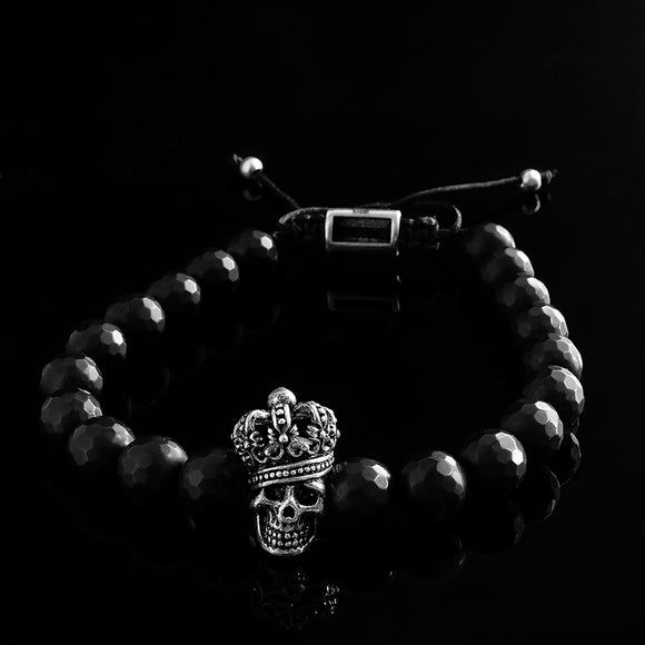 Crown Skull Men's Bracelet Matte Black Onyx with 925 Silver King Skull Charm