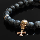 Skull Bracelet for Man 8mm Natural Labradorite Beads with Genuine Silver Charm