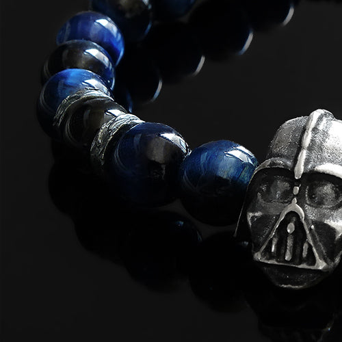 Tiger's Eye Bracelet for Man with 925 Sterling Silver Darth Vader