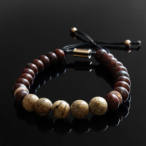 Men's Jasper Bracelet 8 mm Natural Stone Beads Jewelry Gift