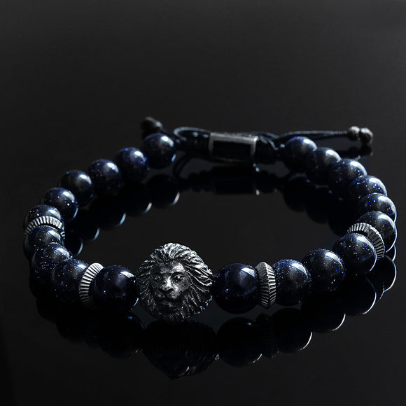 Men's Bracelets Blue Sandstone Beaded Wristband Jewelry Gift for Man