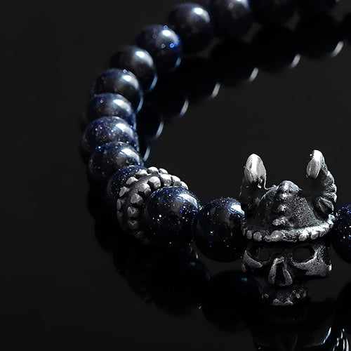 Men's Beaded Wristband Blue Sandstone with Silver Skull Bracelet Set Gift for Man