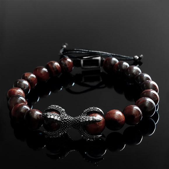 Gemstone Men's Bracelet Natural Red Tiger's Eye Beads with 925 Silver Dragon Claw
