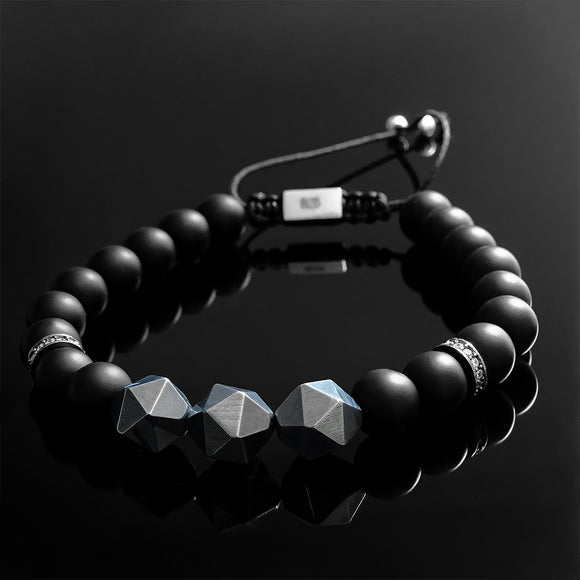 Matte Onyx Men's Black Bracelet with Faceted Titanium Hematite Beads