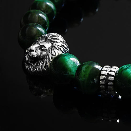 Loin Head 8mm Round Beads Bracelet for Man with Natural Green Tiger's Eye
