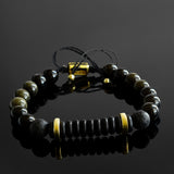 Golden Sheen Obsidian Men's Adjustable String Bracelet with Natural Round Gemstone Beads