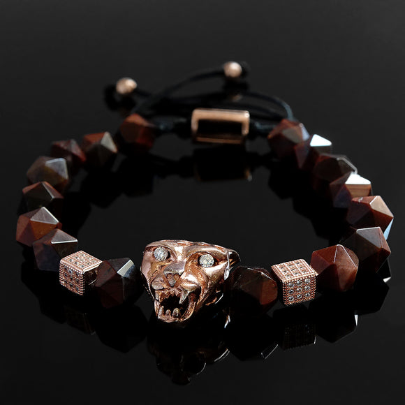 Tiger's Eye Bracelet for Man 925 Silver Jaguar and Natural Red Gemstone Faceted Beads