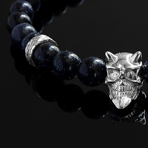 Blue Sandstone Wristband for Man 925 Silver Devil Bracelet Gift for Him