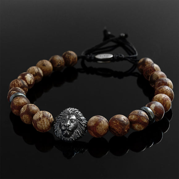 Tibetan Agate Boho Style Bracelet for Man with 925 Silver Lion Head