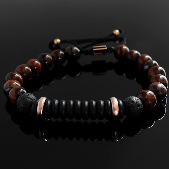 Men's String Bracelet Wooden Beads and Natural Red Tiger's Eye, Gift for Man