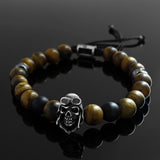 Silver Skull Men's Bracelet Natural Tiger's Eye with Solid 925 Sterling Silver Charm
