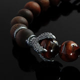Dragon Claw Silver Man Bracelet with Natural Tiger's Eye Stone, Gift For Him