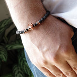 Bracelet for Man Black Lava Stones 6 mm with Rose Gold 925 Silver Skull