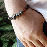 Natural Labradorite Men's Grey Bracelet 925 Silver Jaguar and Red Tiger's Eye Stones