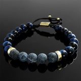 Blue Gemstone Bracelet for Him Natural Tiger's Eye Healing Stones Gift for Husband
