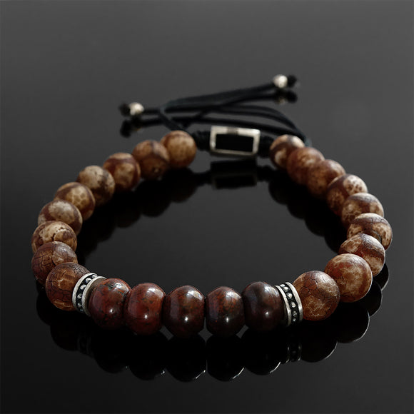 Boho Style Men's Bracelet Tibetan Agate and Red Jasper Meditation Yoga Gift for Man