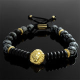 Men's Beaded Bracelet Snowflake Obsidian Gemstones with Silver Lion Charm Yellow Gold Plated