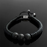 Set of 2 Men's String Bracelets  Black Round Lava Stones with Wooden Beads