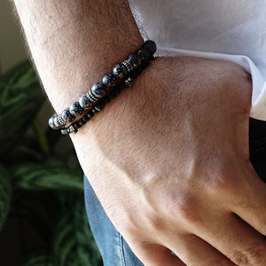 Man Bracelet Stack Set of 2 Natural Snowflake Obsidian with Onyx Skull Stretch Wristband