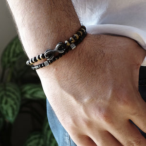 Men's Onyx Bead Bracelets Gift for Husband with Solid Silver Dragon Claw Set of 2 Wristbands