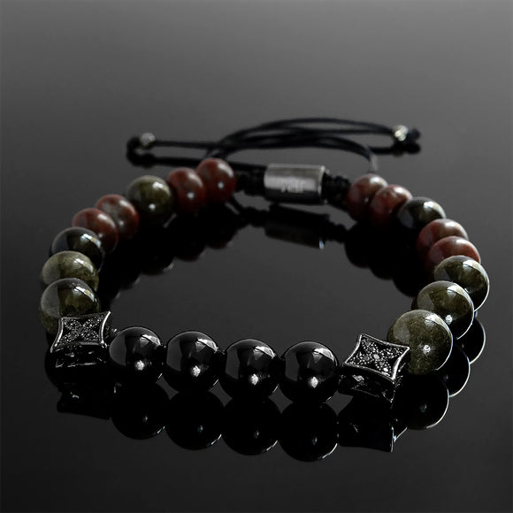 Male Onyx Bracelet Stackable Set of 2 Wristbands Layered Gemstone Bracelet for Him