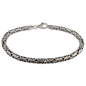 Solid Sterling Silver Mens Heavy Bali Byzantine King Bracelet Chain Link 8 inch