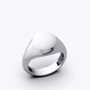 Pinky Ring For Men 925 Silver Blank Round Signet Ring