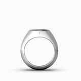 Blank Round 10k White Gold Pinky Signet Ring For Men