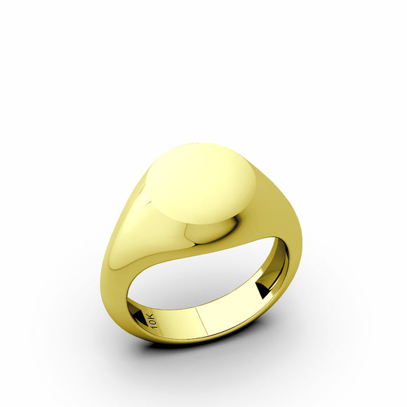 10k Yellow Gold Signet Band Blank Round Pinky Ring For Men