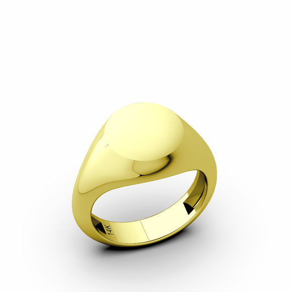 14k Yellow Gold Blank Round Pinky Signet Band Ring For Men