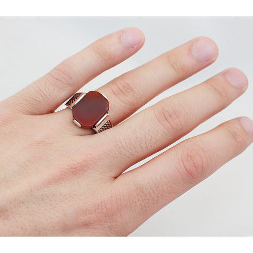 925 Sterling Silver Men's Ring with Red Agate Natural Gemstone