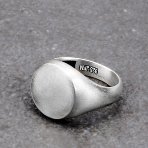 Blank Signet Ring 925 Silver Matte Finish Pinky Band for Man