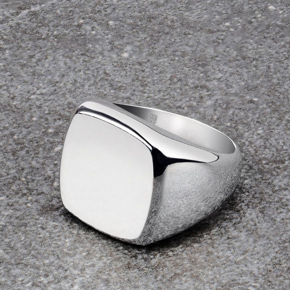 Solid Silver Pinky Ring for Man Classic Plain Simple Band