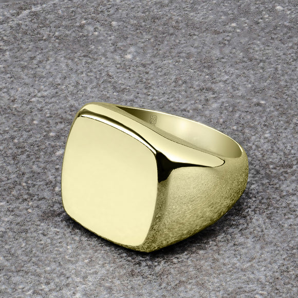 Classic Plain Polished Square Signet Ring Band for Men 18ct Gold Plated